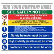 Multi-Hazard Site Safety 6 Point Sign (Large Landscape)