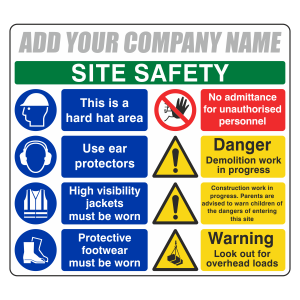 Multi-Hazard Site Safety 8 Point Sign (Large Landscape)