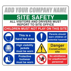 Multi-Hazard Site Safety Visitors To Site Office Sign (Large Landscape)