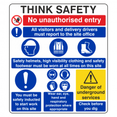 Multi-Hazard Site Safety Think Safety Sign