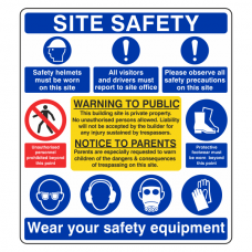 Multi-Hazard Site Safety Warning To Public Sign