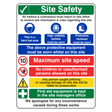 Multi-Hazard Site Safety Maximum Speed Sign