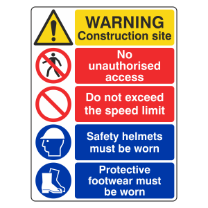Multi-Hazard Site Safety Do Not Exceed Speed Limit Sign (Portrait)