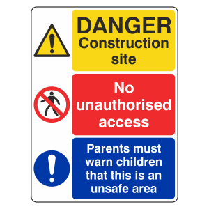 Multi-Hazard Site Safety Parents Warn Children Sign