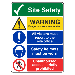 Multi-Hazard Site Safety Warning Sign
