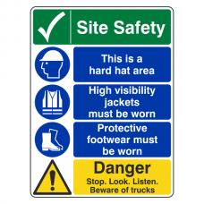Multi-Hazard Site Safety Danger Sign