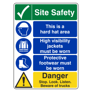 Multi-Hazard Site Safety Danger Sign