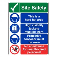 Multi-Hazard Site Safety No Admittance Sign (Portrait)