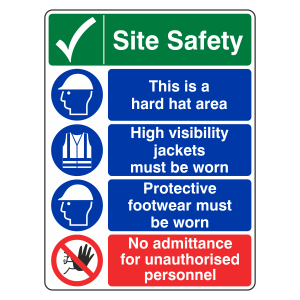 Multi-Hazard Site Safety No Admittance Sign (Portrait)