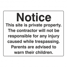This Site Is Private Property Sign (Large Landscape)