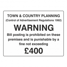 Bill Posting Is Prohibited On These Premises Sign (Large Landscape)