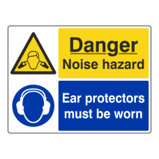 Danger Noise Hazard / Ear Protectors Sign (Large Landscape)