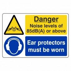 Noise Levels 85dB(A) Or Above / Ear Protectors Sign (Large Landscape)