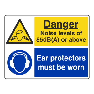 Noise Levels 85dB(A) Or Above / Ear Protectors Sign (Large Landscape)