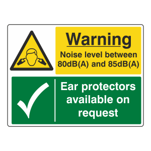 Noise Level Between 80 & 85dB(A) / Ear Protectors Sign (Large Landscape)