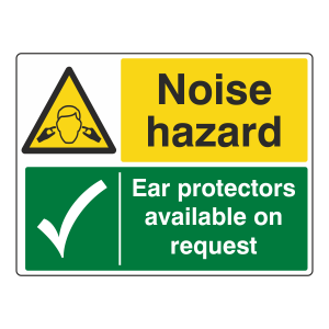 Noise Hazard / Ear Protectors Sign (Large Landscape)