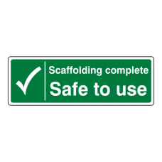 Scaffolding Complete Safe To Use Sign (Landscape)