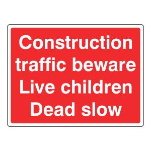Construction Traffic Beware Sign