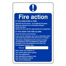 Hospital/Nursing/Warden Fire Action Sign 2