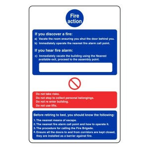 Hospital/Nursing/Warden Fire Action Sign 3