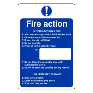 Hospital/Nursing/Warden Fire Action Sign 5
