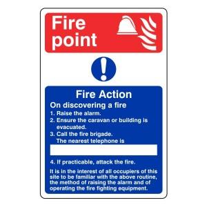 Caravan Park Fire Action Sign 1