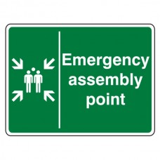 Emergency Assembly Point With Family Sign