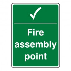 Fire Assembly Point With Tick Sign (Portrait)