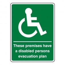 Premises Have Disabled Persons Evacuation Plan Sign (Portrait)