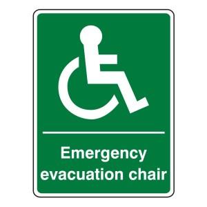 Emergency Evacuation Chair Sign (Portrait)