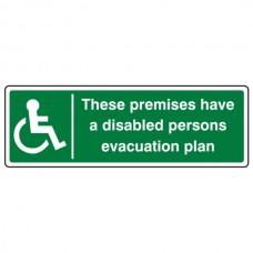Premises Have Disabled Persons Evacuation Plan Sign (Landscape)