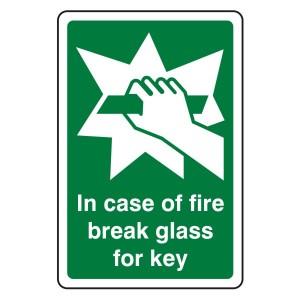 In Case Of Fire Break Glass For Key Sign