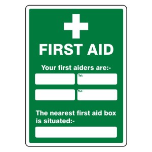 Your First Aiders Are / Nearest First Aid Box Sign (Portrait)