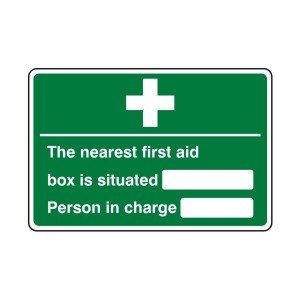 Nearest First Aid Box / Person in Charge Sign (Landscape)