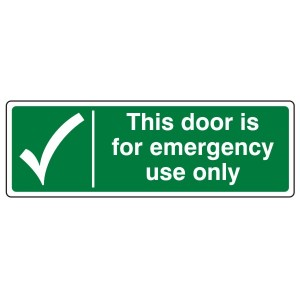 This Door For Emergency Use Only Sign (Landscape)