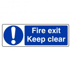 Fire Exit Keep Clear Sign (Landscape)