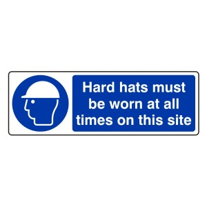 Hard Hats Must Be Worn At All Times Sign (Landscape)