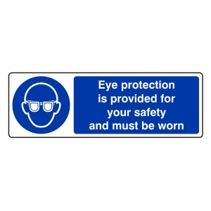 Eye Protection is Provided Sign (Landscape)