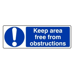 Keep Area Free From Obstructions Sign (Landscape)