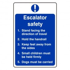 Escalator Safety Action Sign