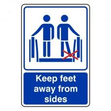 Keep Feet Away From Sides Escalator Sign