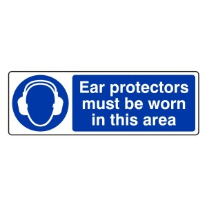 Ear Protectors Must Be Worn Sign (Landscape)