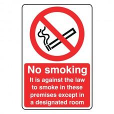 No Smoking Except In Designated Room Sign Portrait