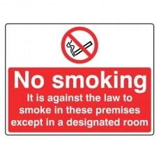 No Smoking Except In Designated Room Sign (Large Landscape)