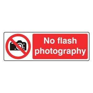 No Flash Photography Sign (Landscape)
