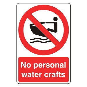 No Personal Water Crafts Sign