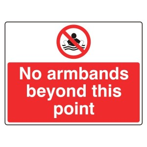 No Armbands Beyond This Point Sign (Large Landscape)