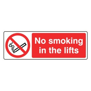 No Smoking In The Lifts Sign (Landscape)