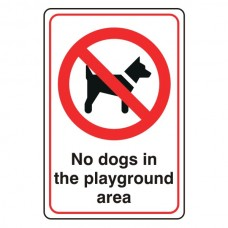 No Dogs In The Playground Area Sign