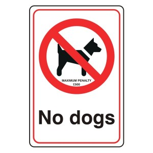 No Dogs Sign with Penalty